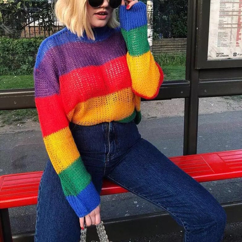 ZHYMIHRET 2018 Autumn Rainbow Striped Sweater For Women  Long Sleeves Loose Mohair Harajuku Kawaii Pullover Femme