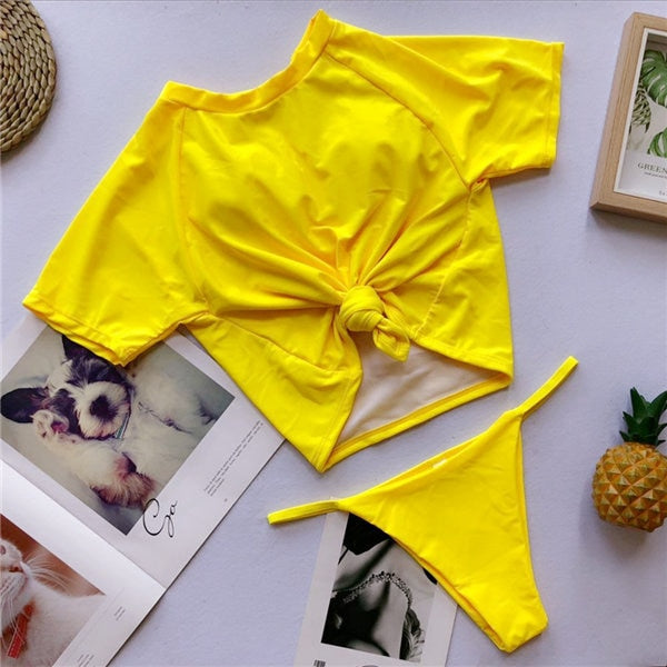 226d47f517447 2019 Sexy Retro Front Tie Knot T-shirt Crop Top Biquini Bathing Suit Female  Swimsuit