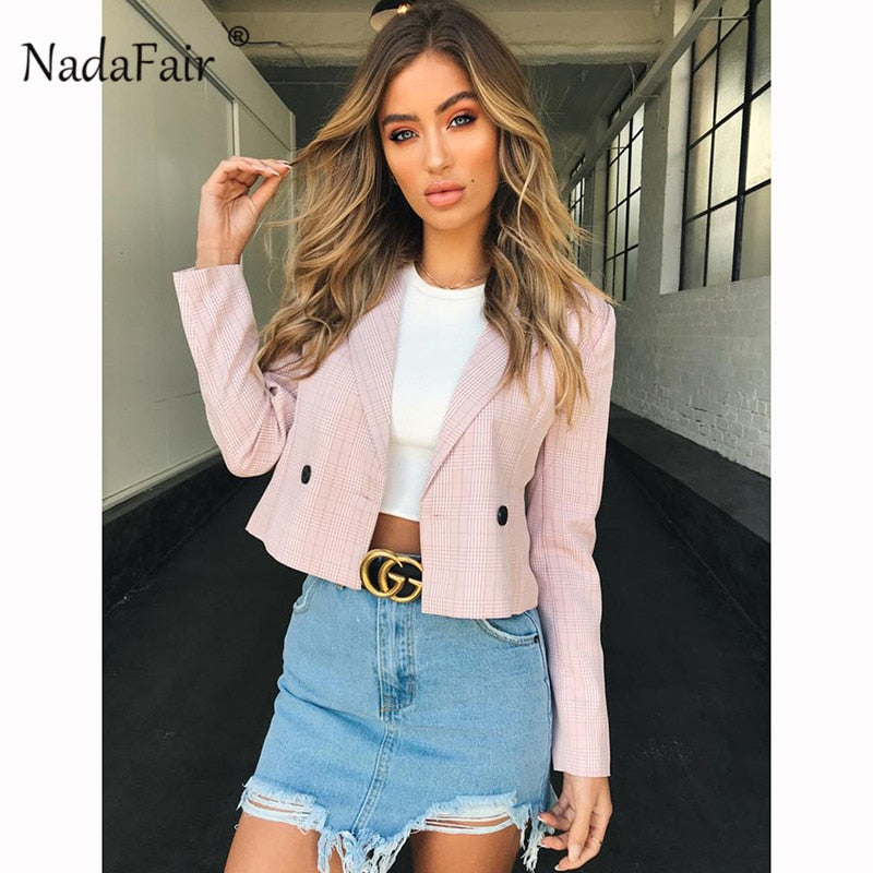Nadafair long sleeve turn-down autumn plaid Jackets women single button casual short slim office outerwear female formal coats
