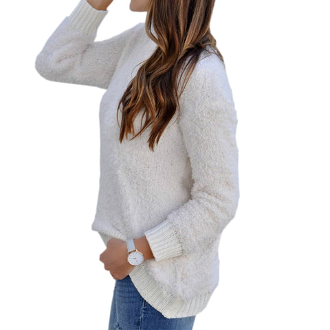 e05c033734baa Knitting Autumn Winter Solid Casual Long Sleeve O-neck Sweaters Shirt Warm  Sweaters 2018 Women Knitted Pullovers Top Mujer GV140