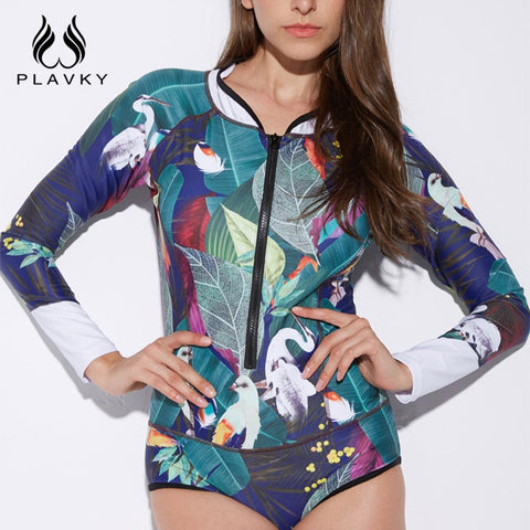 5a086438f2 Sexy Tropical Printed Long Sleeve Zipper Swim Bathing Suit Bodysuit Sport  Swimwear Surfing Rash Guard Women One Piece Swimsuit