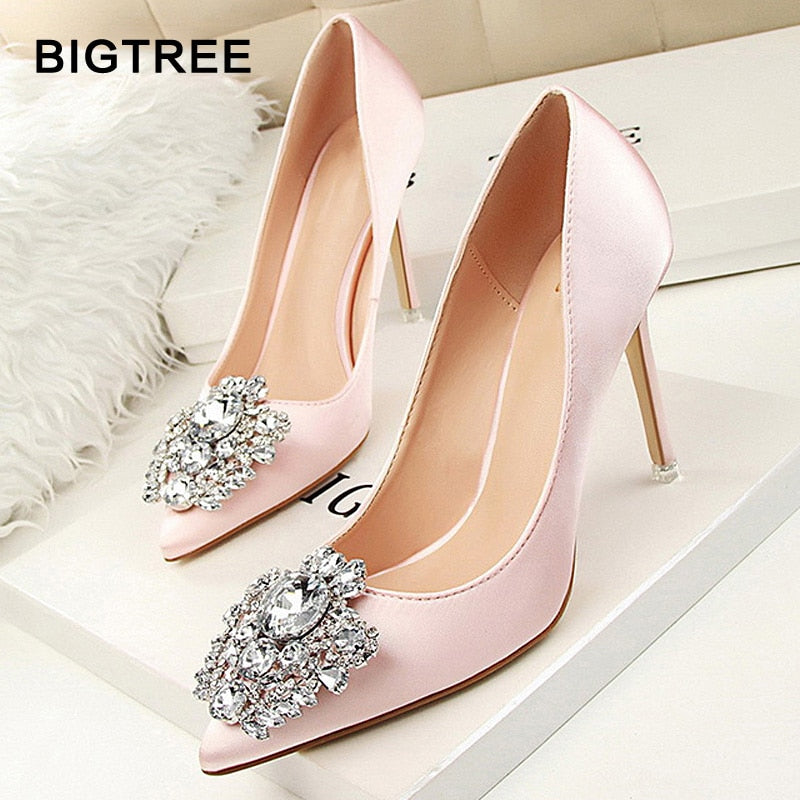BIGTREE Star Style Sexy Pointed Toe Women Pumps Crystal Solid Silk Shallow High Heels Shoes Women's Wedding Shoes