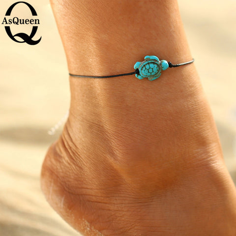 d8c9d09e209 Fashion Brand Vintage Cut Tortoise Pendant Anklet Beach Foot Leather Chain  2018 New Summer Anklets Foot Jewelry Gift