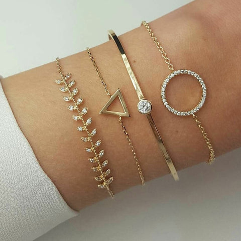 Tocona Bohemian Triangle Round Leaf Layered Bracelets Set for Women Girl Geometric Crystal Pendant Bracelet Bangle Anklet 6891