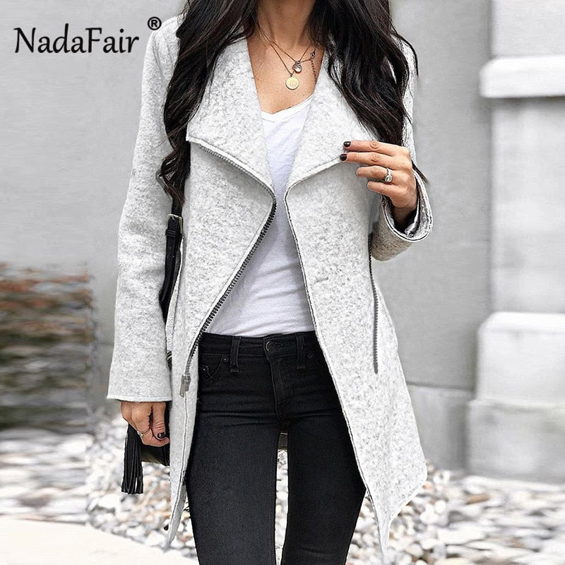 Nadafair new arrival asymmetric wool blend long coats women autumn winter thick casual jacket coat women skew zipper outwear