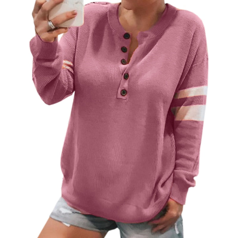 Winter Knitting Women Sweaters Striped Long Sleeve Tops Knitted Shirts Pullovers New Buttons Plus Size Casual Tops Jumpers M0285