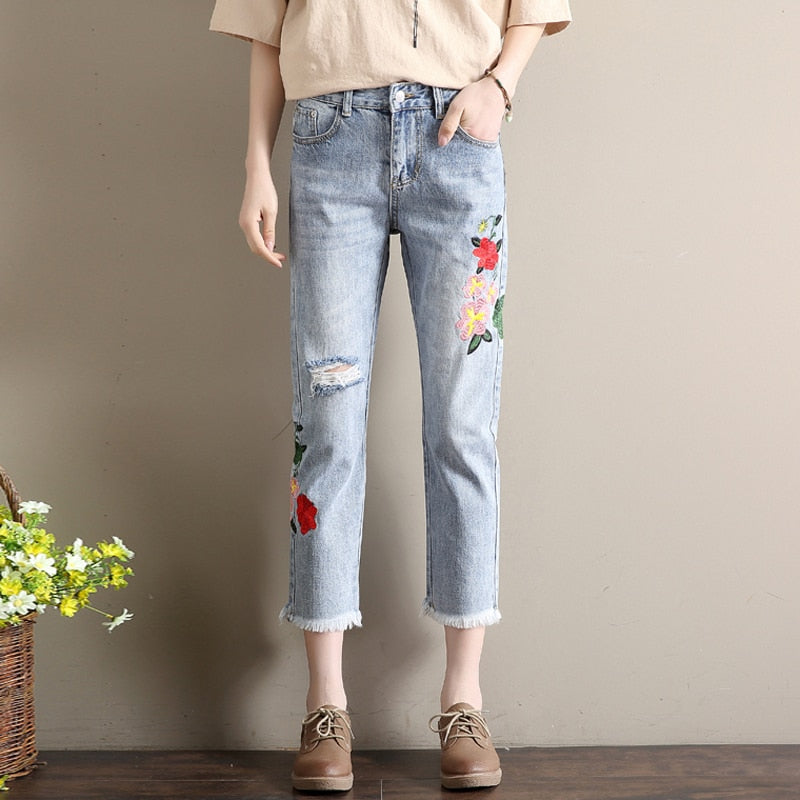 Harajuku Denim Jeans For Women Spring Ripped Hole Ankle Length Jeans Embroidery Harem Jeans Pants Female #1162