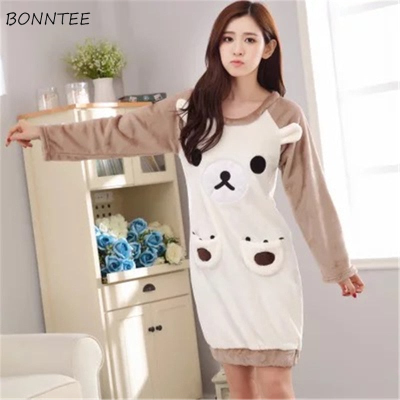 Nightgowns Cartoon Kawaii Women Thicken Soft Warm Flannel Homewear Womens Long Sleeve Round Neck Nightdress Students Sleepwear