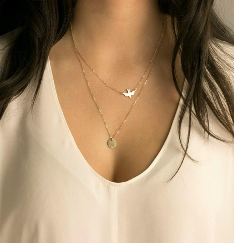 d68370b92987bb 2017 New Fashion Double Layer Gold Delicate Gold Bird Necklace / Dove  Necklace Sequins Women Long
