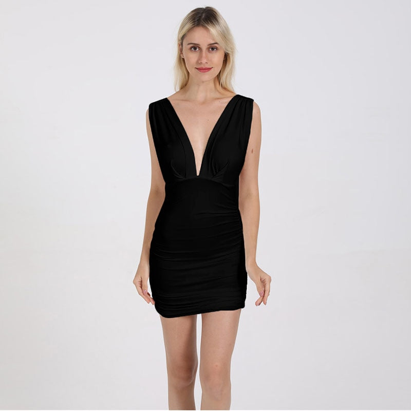 Dresses Casual Beach Mini Dresses Sleeveless Backless Draped Women Dress Summer 2019 Ruched Wrap Club Party Bodycon Sexy Dress Female