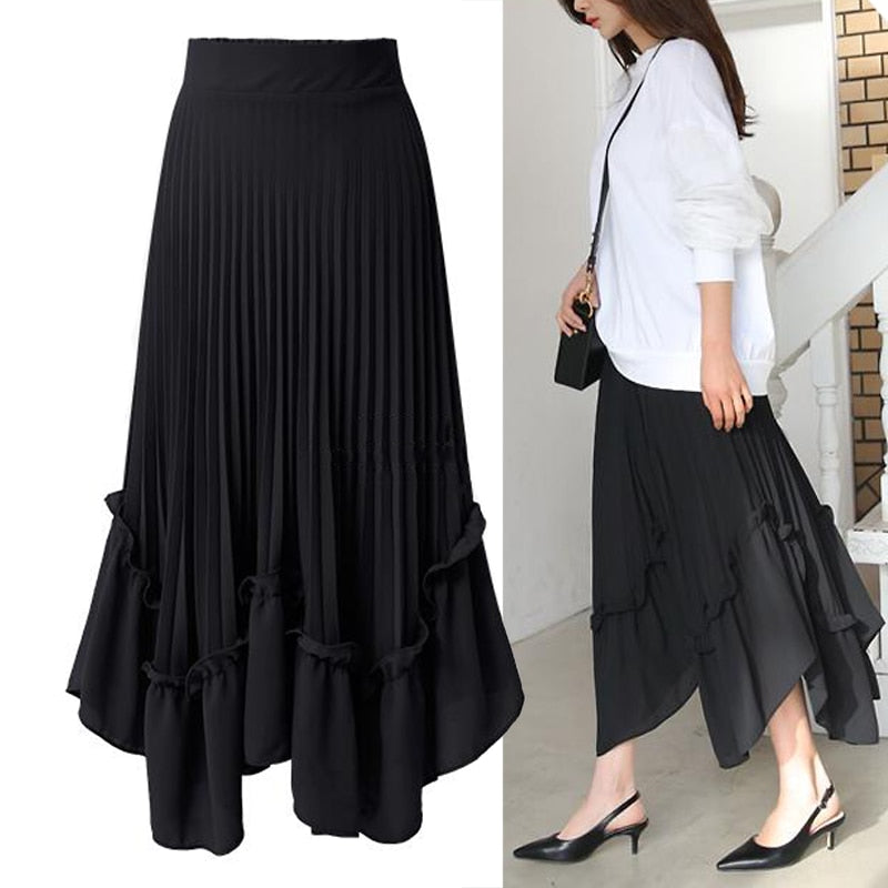 f2cad2aa18bac Spring Summer women skirt shorts Chiffon maxi skirt High waist Pleated skirt  Casual streetwear A-