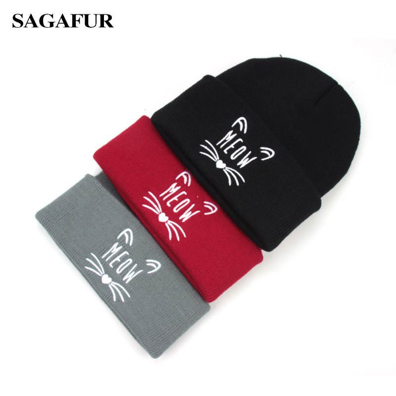 5d0db6499b66 Warm Knitted Hat Female Quality Letter Embroidery Cute Kitten Hat Women's  Winter Fashion Casual Skullies Beanies