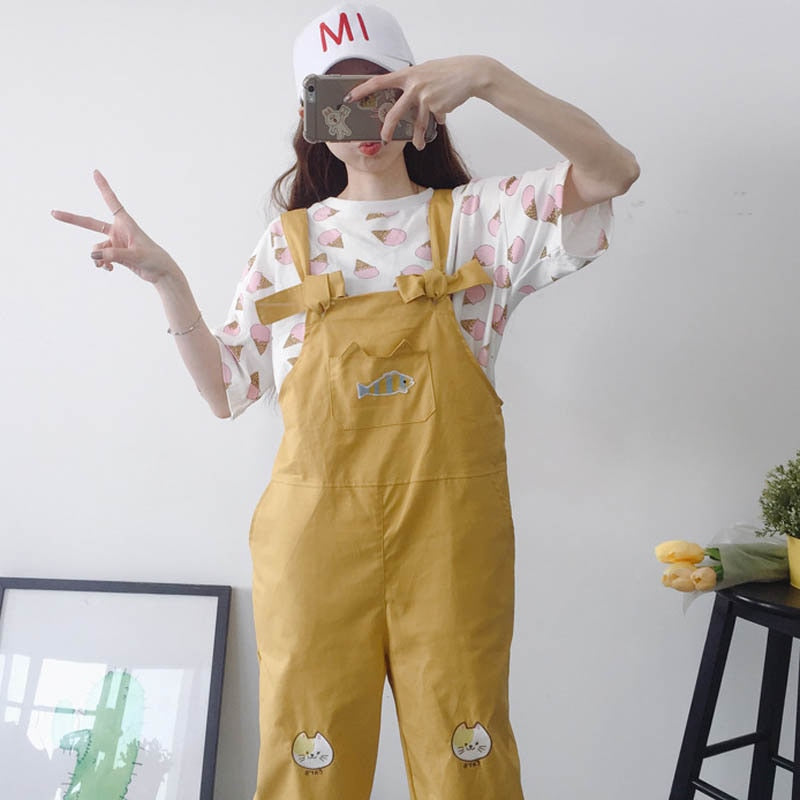 Harajuku Overalls For Women  Mid Waist Chic BF Style Jeans Kawaii Pleated Loose Cotton Embroidery Jeans Female #2814D
