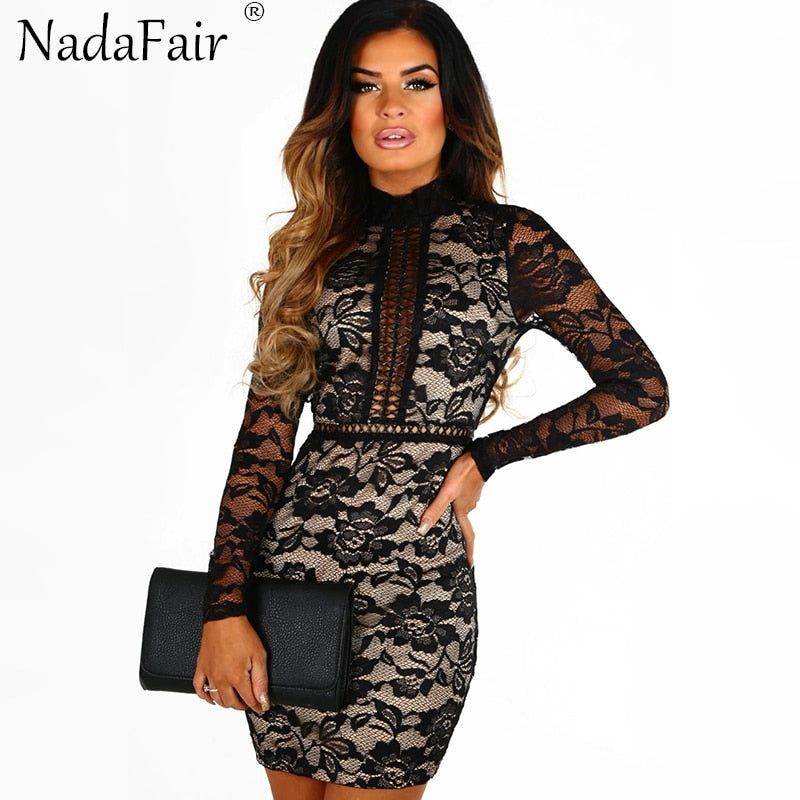 Long Sleeve Turtleneck Black Lace Sexy Club Dress Backless Mini Party Dress