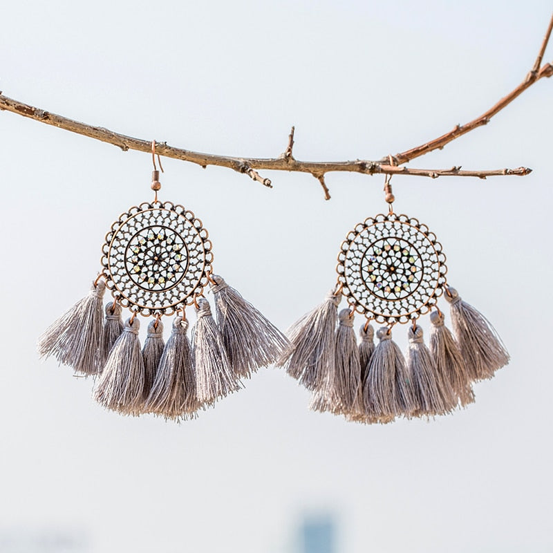 2019 Boho sun flower tassel big earrings Bohemian ethnic colorful Fringed statement earring for women party charm jewelry