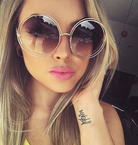 3f96f647136 Vintage Round Big Size Oversized lens Mirror Sunglasses Women Brand Designer  Metal Frame Lady Sun Glasses Lady Cool Retro