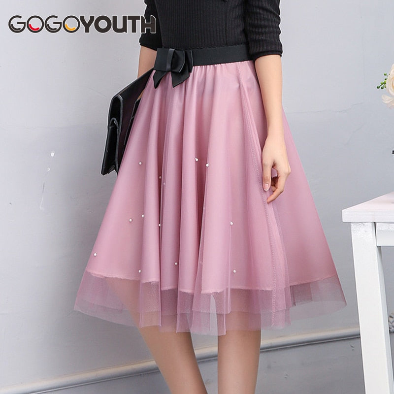 Gogoyouth Adult Tulle Skirt Women 2019 Summer New Midi Knee Length Korean Pearls Bow Elegant Pleated Sun High Waist Skirt Female