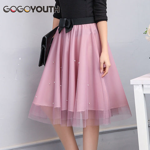 ac41172c3d Gogoyouth Adult Tulle Skirt Women 2019 Summer New Midi Knee Length Korean  Pearls Bow Elegant Pleated Sun High Waist Skirt Female