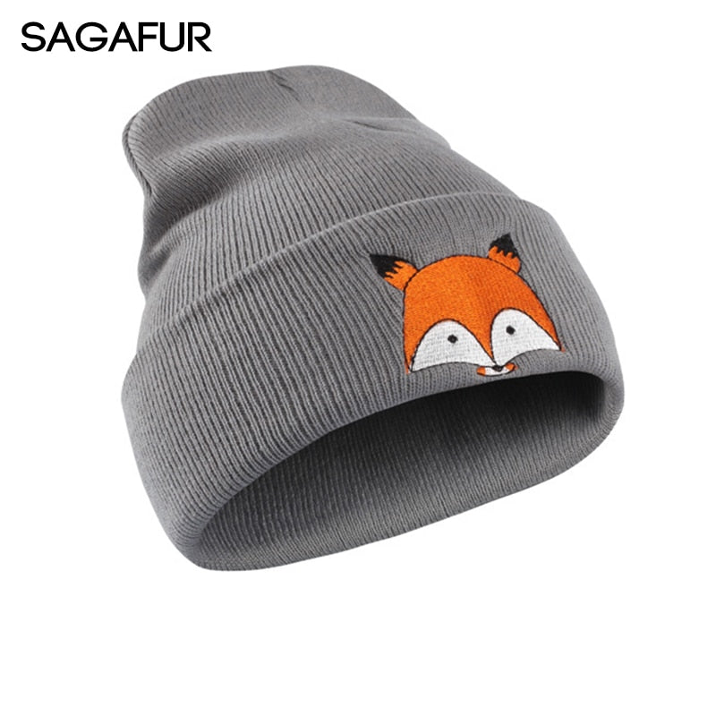 Lovely Winter Knitted Hat Female Cartoon Little Fox Hat For Boys Soft Acrylic Embroidery Skullies Beanies For Girls Hat Children