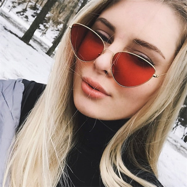 2018 red cat eye sunglasses women clear lens sun glasses for women cat eye metal pink yellow uv400