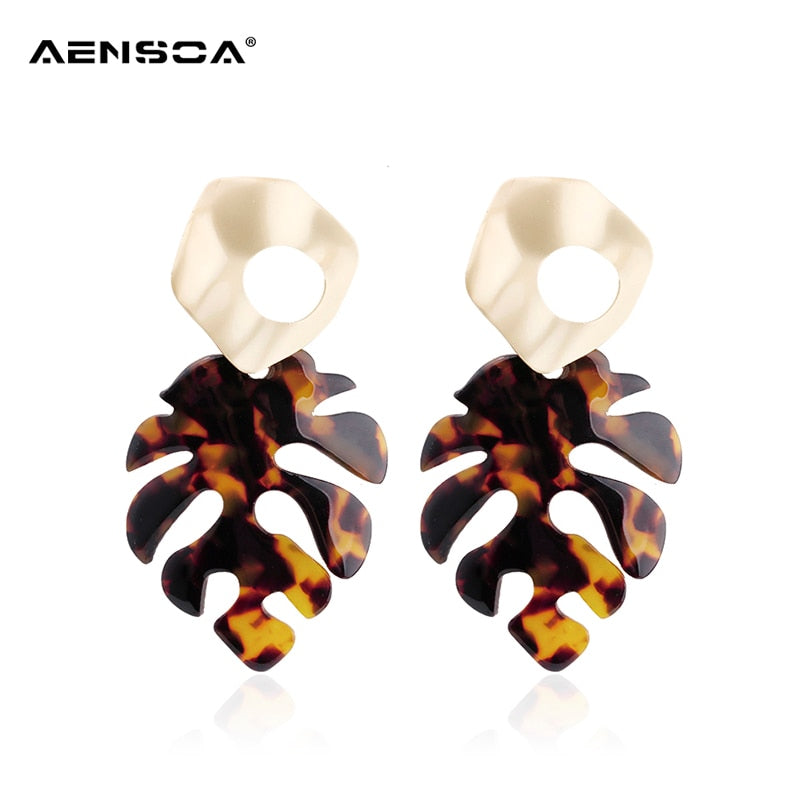 AENSOA Acrylic Leopard Earrings For Women 2019 New Big Leaf  Statement Jewelry Vintage Large Earrings Wholesale Gift Pendientes