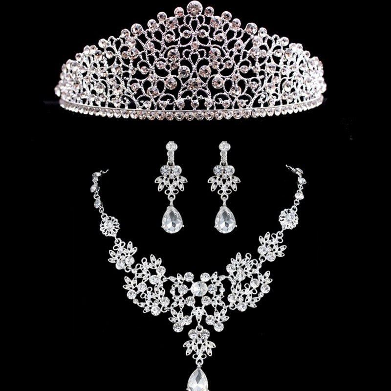 New Rhinestone Jewelry Sets Silver Crown Necklace Earring Set Tiara For Wedding Bridal Crystal Jewelry Sets Accessories