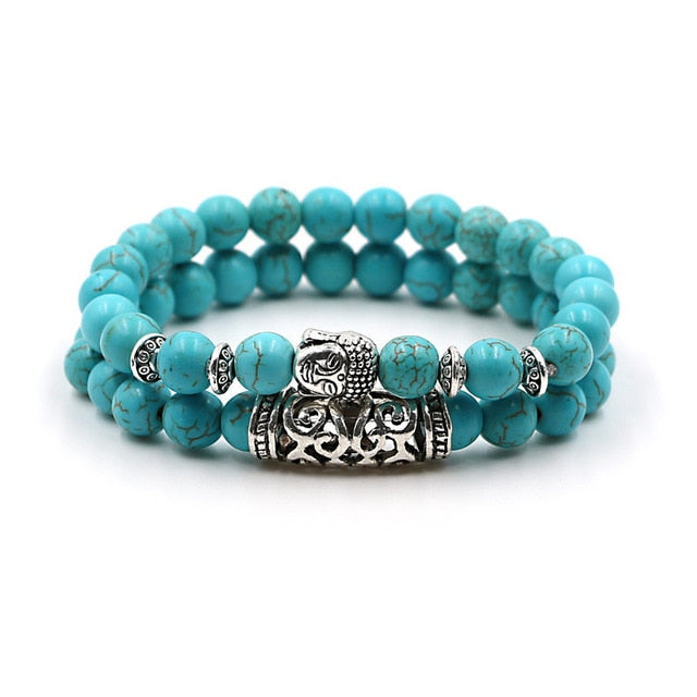 2 pcs/set Antique Silver Plated Buddha Head Charm with Lava Onyx Turquoises Natural Stone Beads Bracelet Set For Men Women