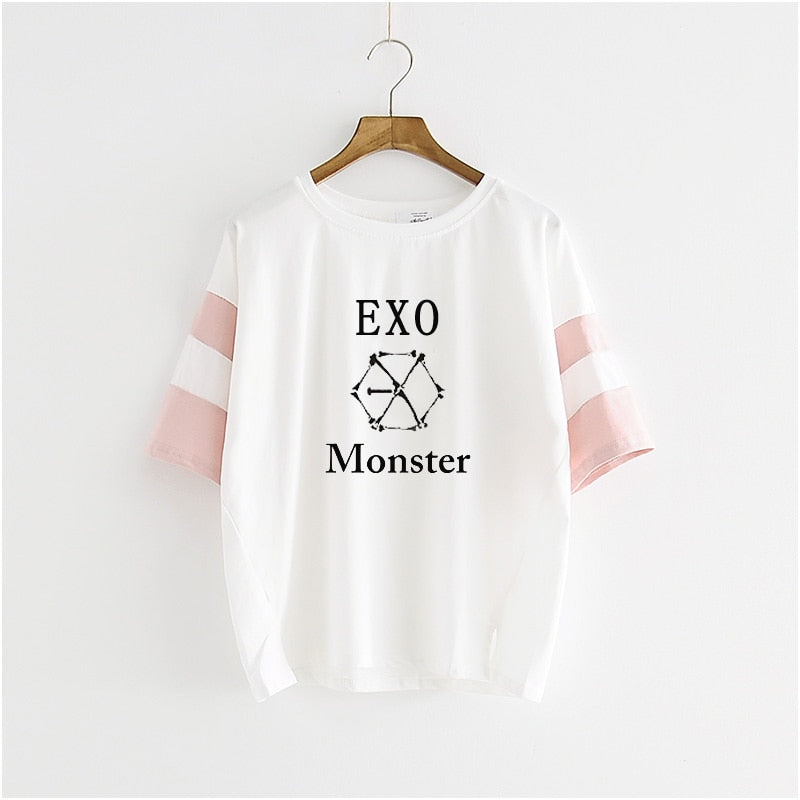 Star The Same Paragraph Letter Printed T-Shirt Women  Casual exo t shirt