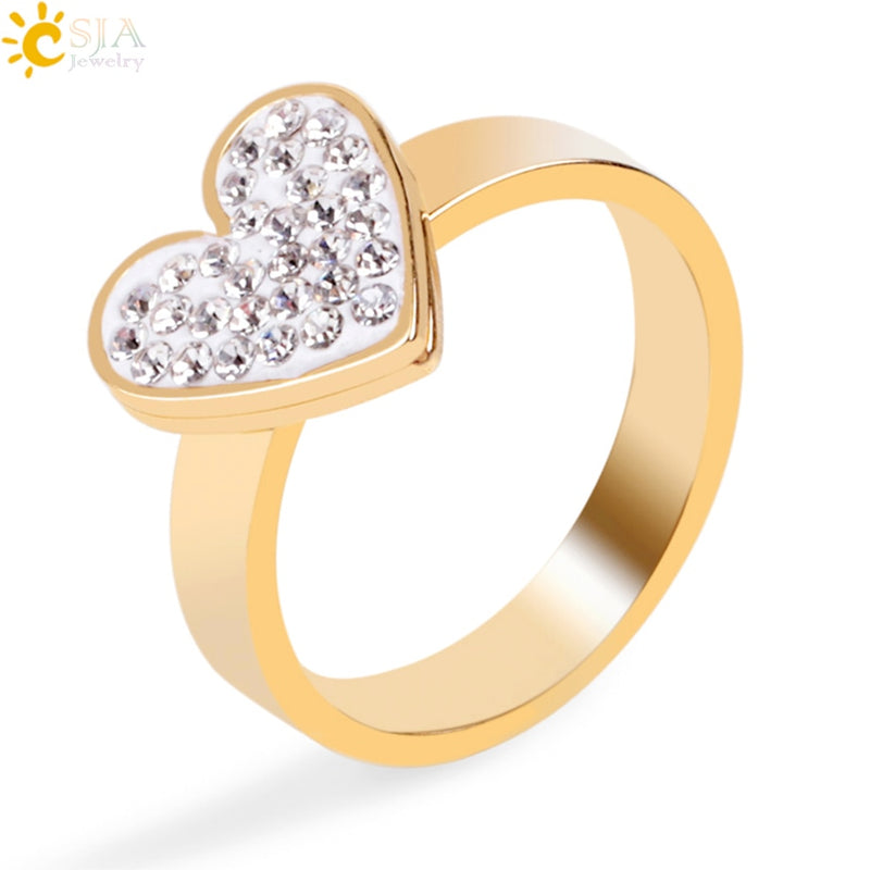 b675678775e75 Women Fashion Rings Gold-color Stainless Steel Finger Rings Rhinestone  Beaded Love Heart Gift Jewelry Anel Anillos E898