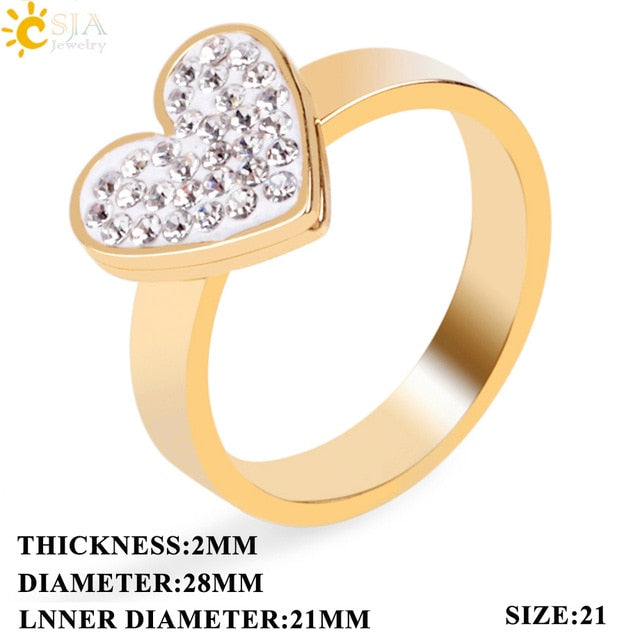 fce19b9600 Women Fashion Rings Gold-color Stainless Steel Finger Rings Rhinestone  Beaded Love Heart Gift Jewelry