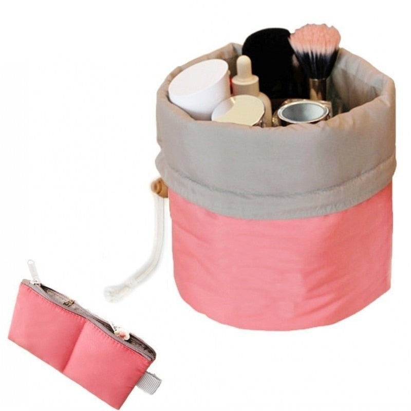 New Barrel Shaped Travel Cosmetic Bag Nylon High Capacity Drawstring Wash Bags Makeup Organizer Storage Wholesale