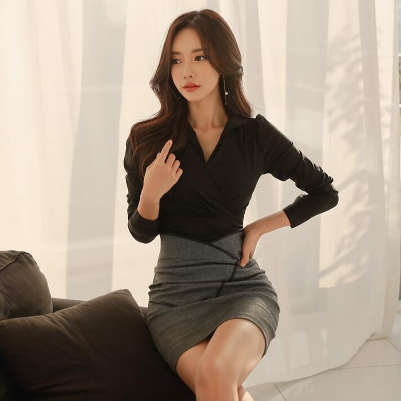 2 Two Pieces OL Set Women Business Wear V-neck Blouse and Asymmetrical Skirt Office Ladies Patchwork Skirt Suits feminino