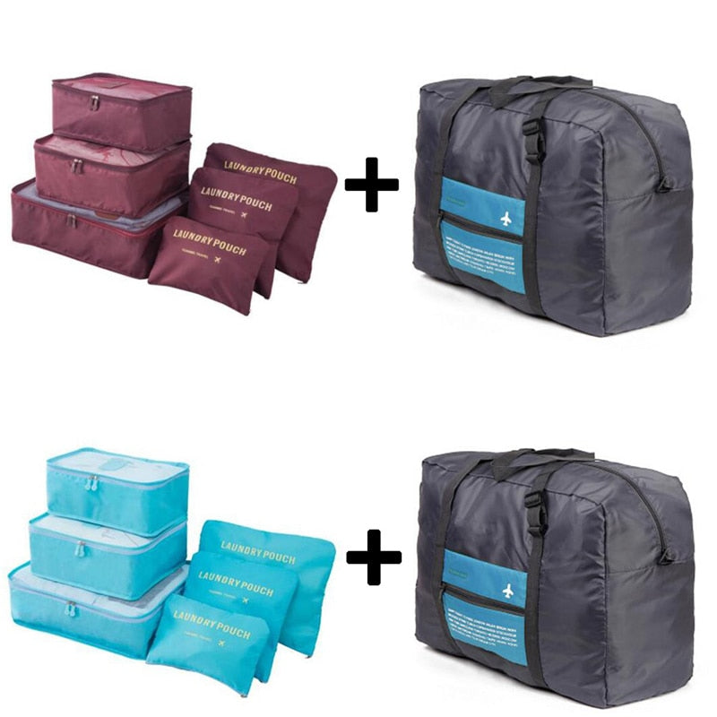 6pcs/set Plus Travel Handbags Luggage Bags Travel Bags Packing Cubes Organizer Nylon Folding Bag Bags Women BolsasWholesale
