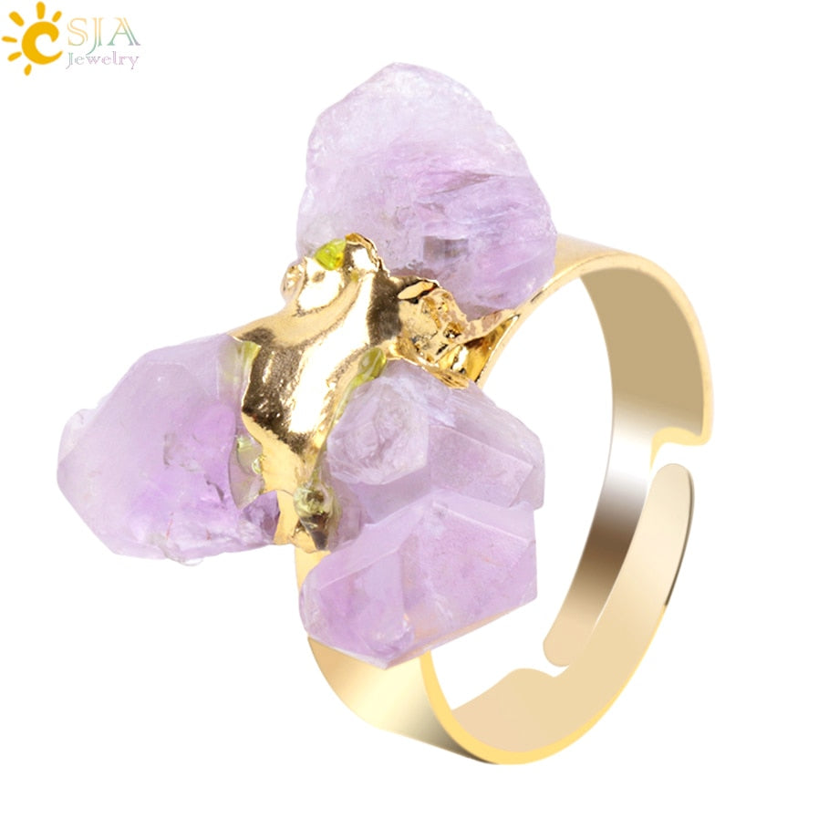 Gold-Color Irregular Natural Gem Stone Ring for Lady Purple Crystal Quartz Adjustable Austrian Finger Rings Jewellery E274