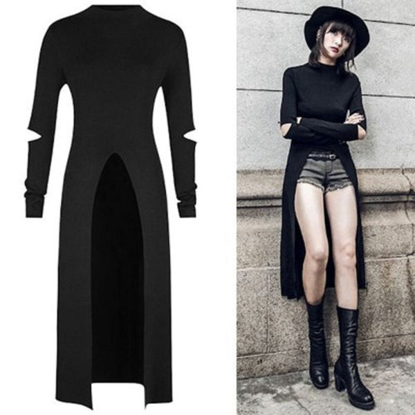 2018 NEW Women'S Punk Dress Long Sleeve Holes And Pour V Split The Fork Design Women Dress Cotton Summer Dresses