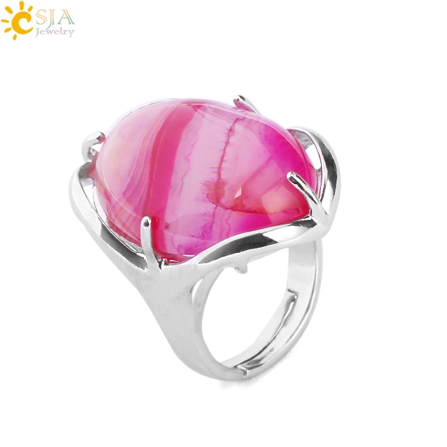 Natural Gem Stone Oval Finger Ring Women Reiki Chakra Healing Point Ring Pink Quartz Onyx Lapis Lazuli Unakite Jewelry E580
