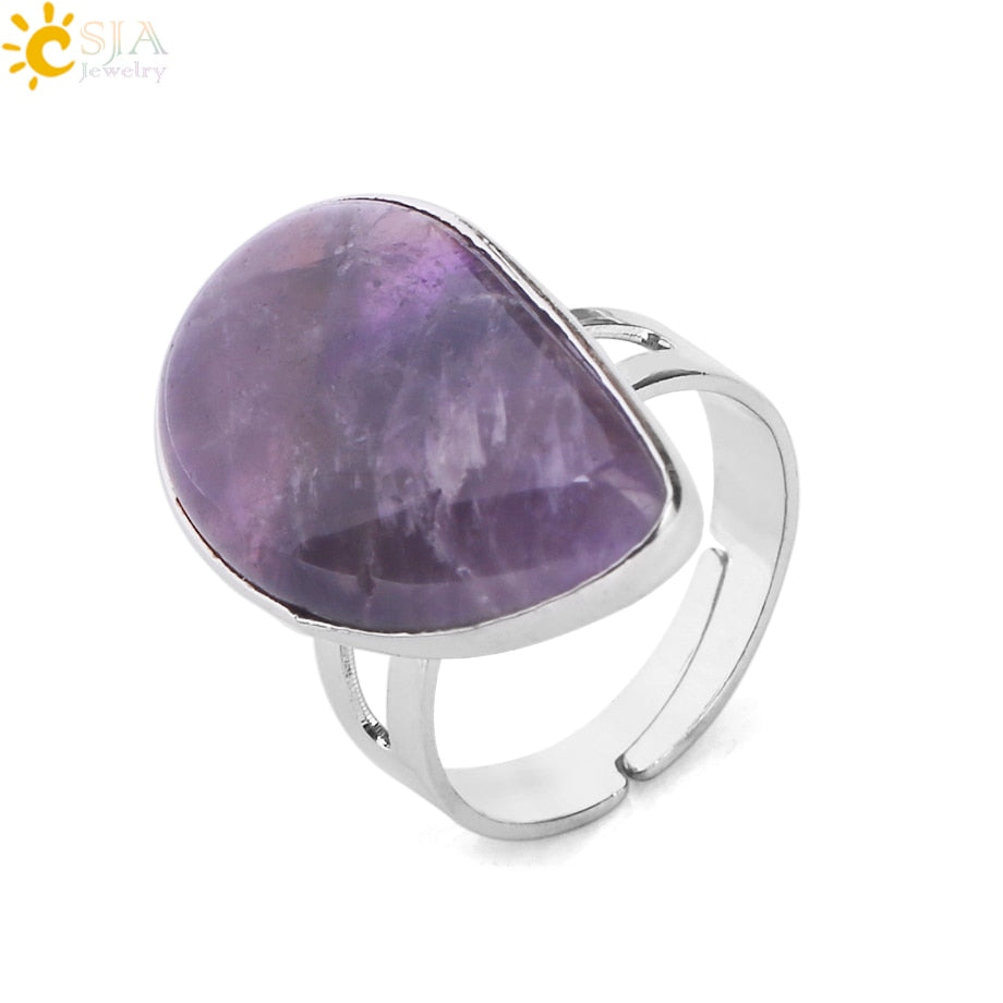 Reiki Healing Natural Stone Water Drop Rings for Women Mens Finger Ring Purple Pink Quartz Tiger Eye Wedding Jewellery E870
