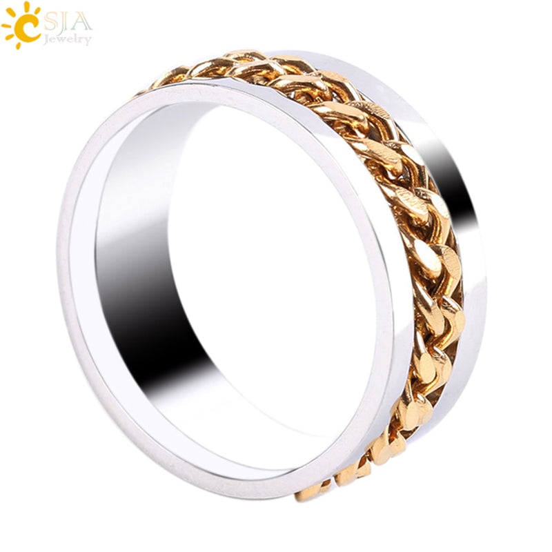 Nice Vintage Chain Spinner Mens Ring Stainless Steel Punk Rock Accessories Black Rings For Women Men Jewelry Wholesale Anillos Mujer Jewelry & Accessories