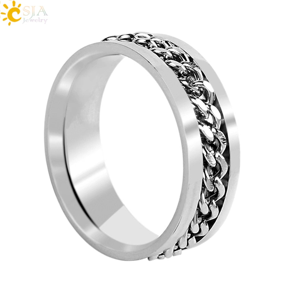 High Polished Titanium Stainless Steel Engagement Ring for Male Rotatable Inset Chain Finger Ring Wedding Band Jewelry E682