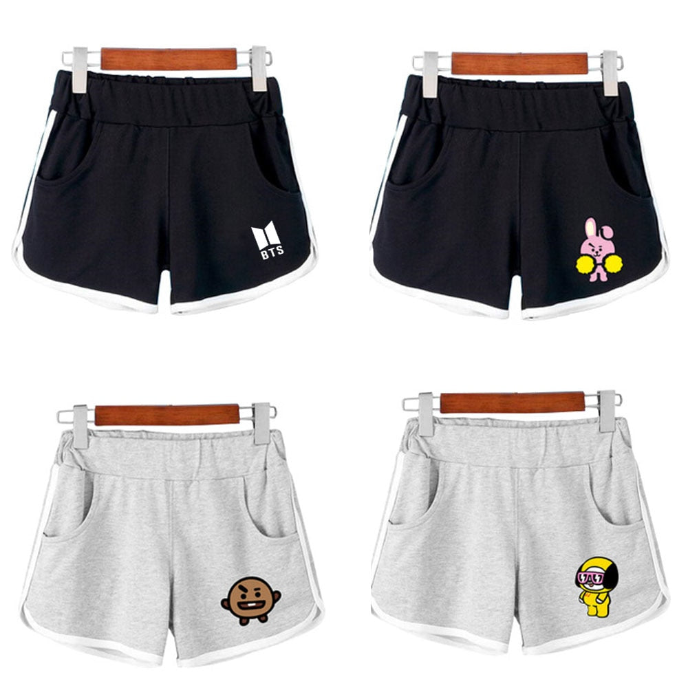 NEW Kpop BTS BT21 Bangtan Boys Cotton Cartoon Q Shorts Pants Elastic Waist Casual Exercise Shorts Trousers For Women Girls