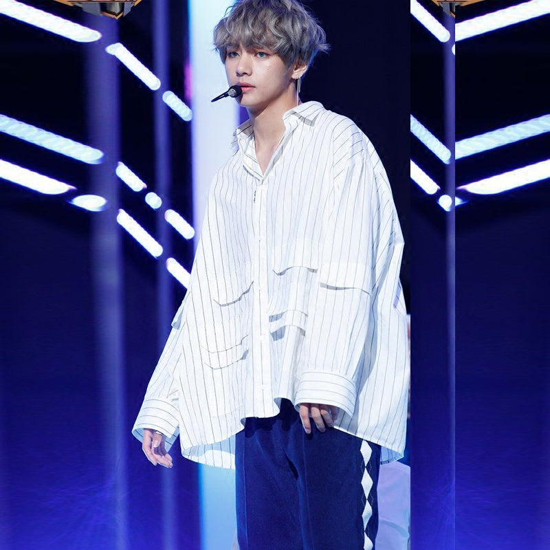 BTS v same stage stripe blouse shirt clothing