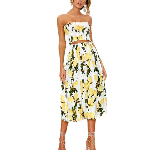 7ba0aa3589 2 Pieces Set Beach Summer Dress Women Long Dress Sexy Strapless Boho  Sunflower Lemon Print Dress Female 2018 Fashion Clothing