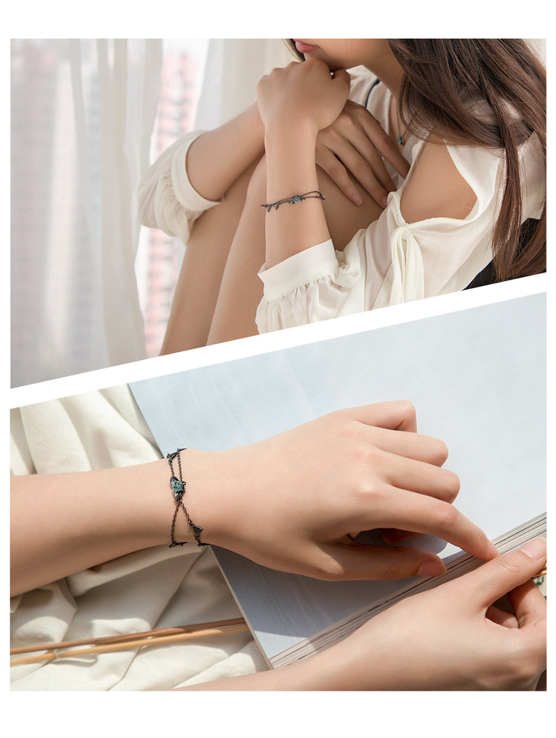 100% 925 Silver Thorns Rose Bracelet Two Layer Crystal Flower Black Chain Link Bracelet for Women Jewelry Korea style Gift