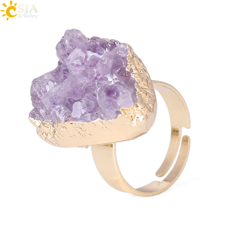Purple Quartz Ring Irregular Natural Stone Crystal Druse Jewellery for Women No Finger Size Limited Gold Color Jewelry F364