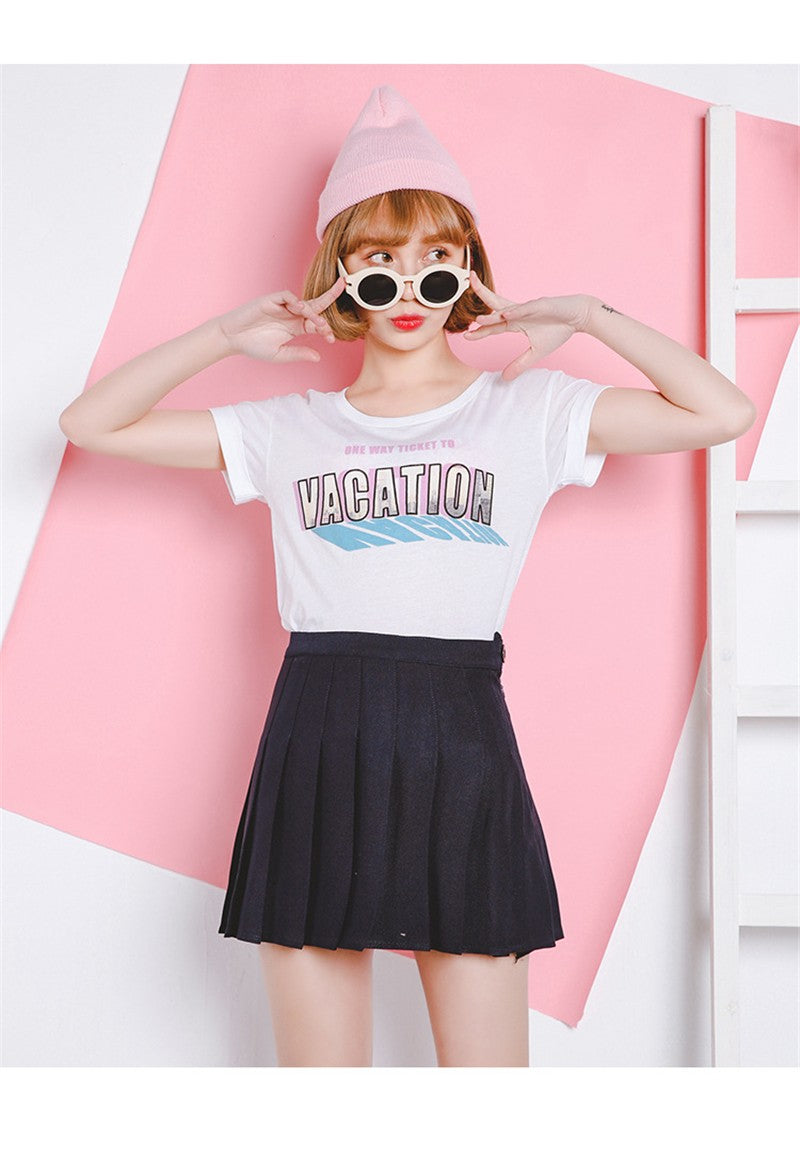 5262599901 New Spring high waist ball pleated skirts Harajuku Denim Skirts solid a-line  sailor skirt