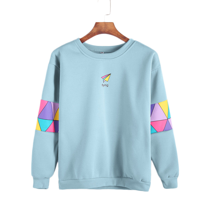 Pale Blue Patchwork Print Letter Geometric Sweatshirt Women  Spring Autumn Casual Clothing Female Round Neck Pullover