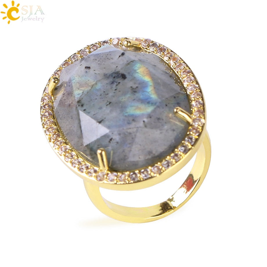 Natural Stone Faceted Opening Adjustable Ring Gold Color Plated Crystal CZ Zircon Rhinestone Rings for Women Men Gifts F458