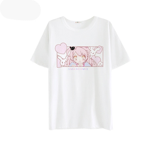 Japanese Cute Short Sleeve White Tops For Female Soft Sister Kiss Anime  Bunny Milk Silk T Shirts Kawaii Comic Graphic T-shirt