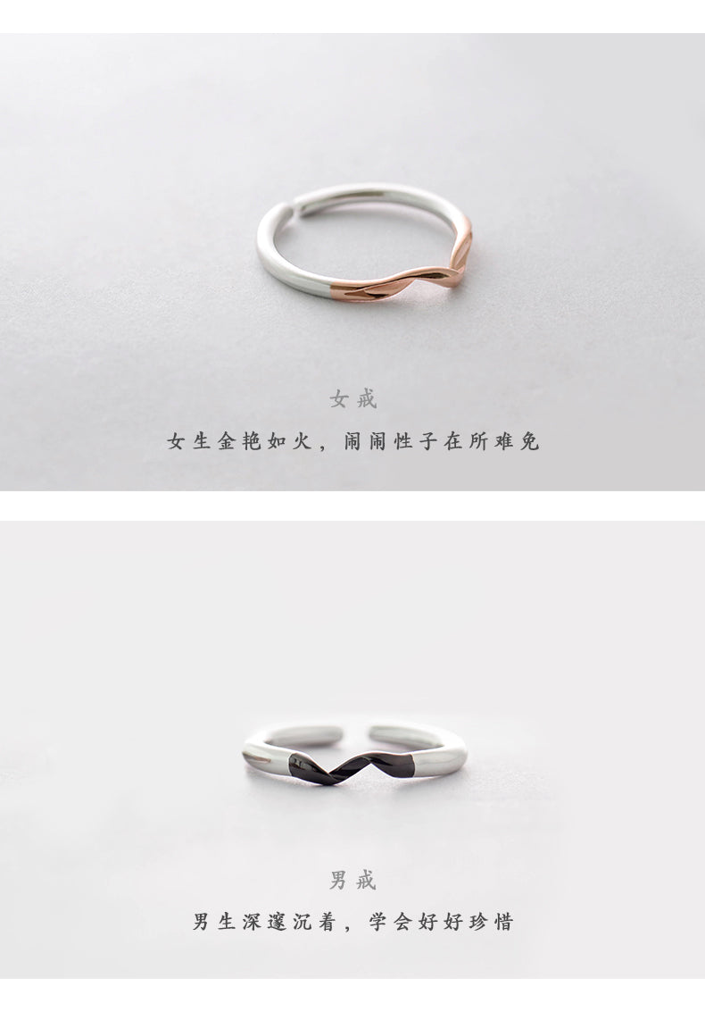 521b9f59a41a0 Winding Design Finger Ring s925 Silver Black and Rose Gold Simple Couple  Interlocking Rings for Women Elegant Jewelry