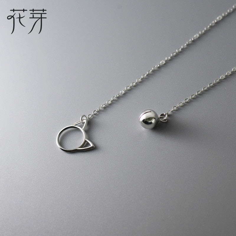 100% 925 Sterling Silver Long Pendant Bell Round Cat Necklace Fine Jewelry Cut and Simple Necklace for Women